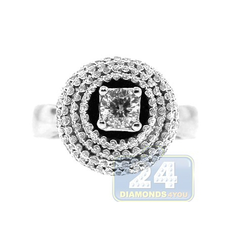 14K White Gold 1.07 ct 4 Rows Diamond Womens High Set Engagement Ring