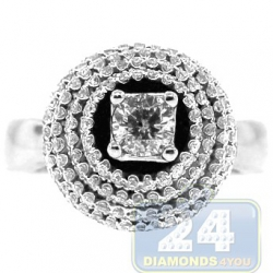 14K White Gold 1.07 ct 4 Rows Diamond High Set Engagement Ring
