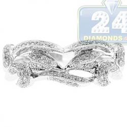 18K White Gold 0.35 ct Diamond Womens Openwork Antique Ring