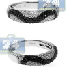 14K White Gold 0.72 ct Black Diamond Womens Wave Band Ring
