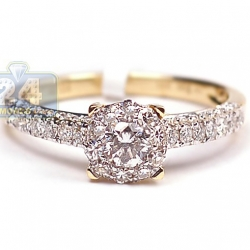 14K Yellow Gold 0.92 ct Round Diamond Vintage Engagement Ring