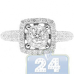 14K White Gold 0.79 ct Diamond Square Engagement Ring