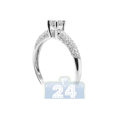 14K White Gold 0.81 ct Diamond Round Solitaire Engagement Ring