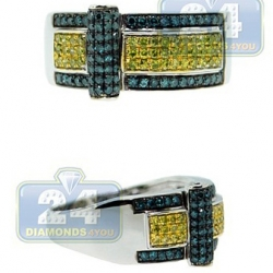 14K White Gold 0.80 ct Blue Yellow Diamond Mens Ring