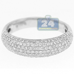 14K White Gold 0.77 ct Diamond Womens Wide Band Ring
