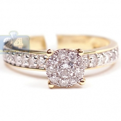 14K Yellow Gold 0.60 ct Diamond Cluster Vintage Engagement Ring