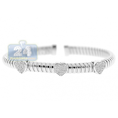 Womens Diamond Heart Cuff Bracelet 14K White Gold 1.10 ct 6.5""