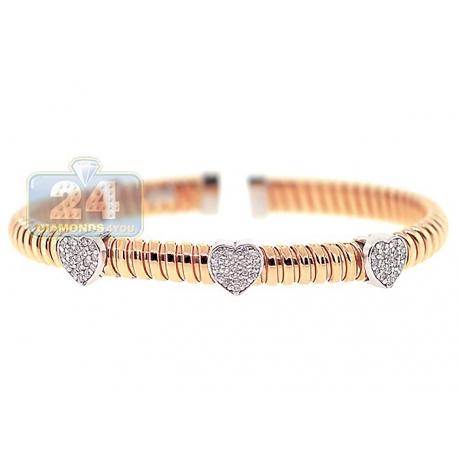 "Womens Diamond Heart Cuff Bracelet 14K Rose Gold 1.10 ct 6.5"""