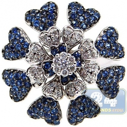 14K White Gold 1.00 ct Diamond Blue Sapphire Flower Ring