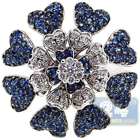 14K White Gold 1.00 ct Diamond Blue Sapphire Flower Cocktail Ring