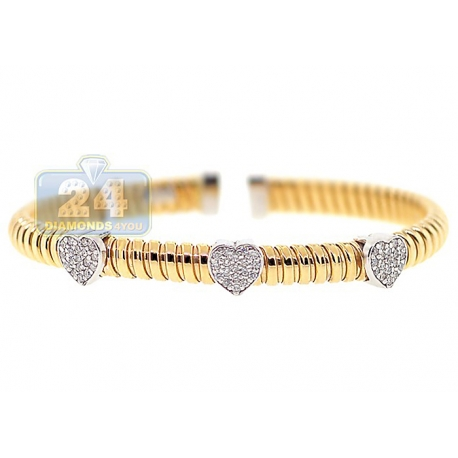 "Womens Diamond Heart Cuff Bracelet 14K Yellow Gold 1.10 ct 6.5"""