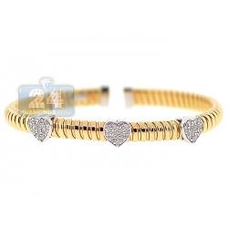 14K Yellow Gold 1.10 ct Diamond Heart Womens Cuff Bracelet