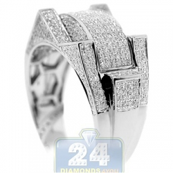 10K White Gold 0.98 ct Diamond Mens Multi Shaped Ring