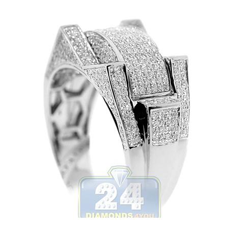 10K White Gold 0.98 ct Diamond Mens Multi Shaped Ring Signet