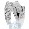 10K White Gold 0.98 ct Diamond Mens Multi Shaped Ring Signet