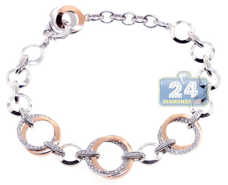 14k Two Tone Gold 1 34 Ct Diamond Circle Link Womens Bracelet