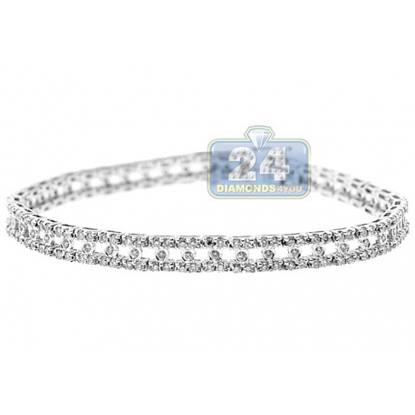 Womens Diamond Fancy Tennis Bracelet 14K White Gold 6mm 7.5""