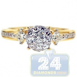 14K Yellow Gold 0.74 ct Diamond High Set Engagement Ring