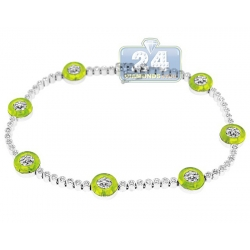 14K White Gold 1.00 ct Diamond Green Evil Eye Womens Bracelet