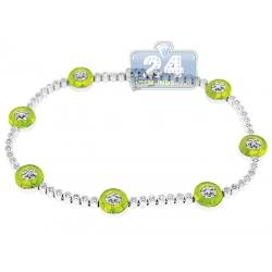 14K White Gold 1.00 ct Diamond Green Evil Eye Womens Bracelet