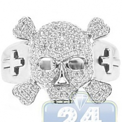 14K White Gold 0.80 ct Diamond Mens Skull Cross Ring
