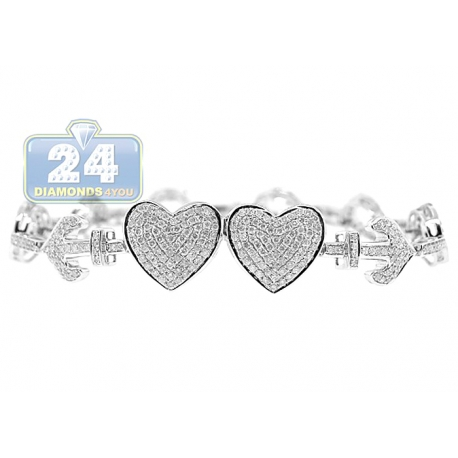 Womens Diamond Hearts Anchor Bracelet 14K White Gold 2.30 ct 7""