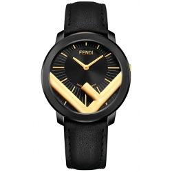 F712111011 Fendi Run Away 41mm Black Golden Case Mens Watch