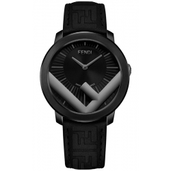 F712611011 Fendi Run Away 41mm All Black Steel Case Mens Watch