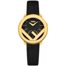 F710421011 Fendi Run Away 28mm Yellow Gold Black Dial Watch