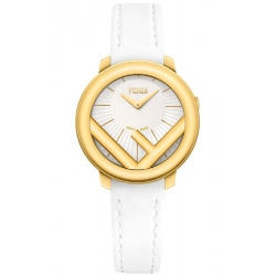 F710424041 Fendi Run Away 28mm Yellow Gold All White Strap Watch