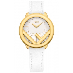 F710434041 Fendi Run Away 36mm Yellow Gold All White Strap Watch