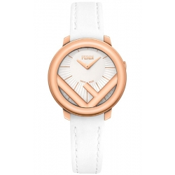 F710524041 Fendi Run Away 28mm Rose Gold White Strap Watch