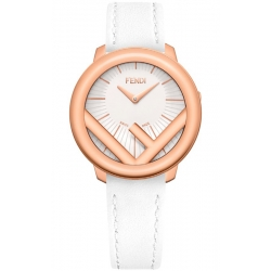 F710534041 Fendi Run Away 36mm Rose Gold White Strap Watch