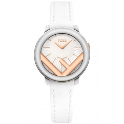 F710224041 Fendi Run Away 28mm 2-Tone Case White Strap Watch