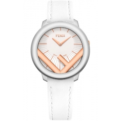 F710234041 Fendi Run Away 36mm 2-Tone Case White Strap Watch