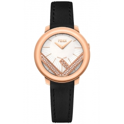 F710524011C0 Fendi Run Away 28mm Diamond Rose Gold Watch