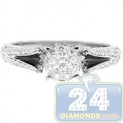 14K White Gold 0.72 ct Diamond Cluster Vintage Engagement Ring