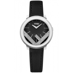 F710021011C0 Fendi Run Away 28mm Diamond Black Dial Watch