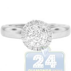 14K White Gold 0.44 ct Diamond Halo Cluster Engagement Ring