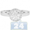 14K White Gold 0.44 ct Diamond Halo Cluster Engagement Ring