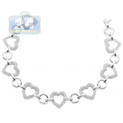 14K White Gold 2.75 ct Diamond Open Heart Womens Bracelet