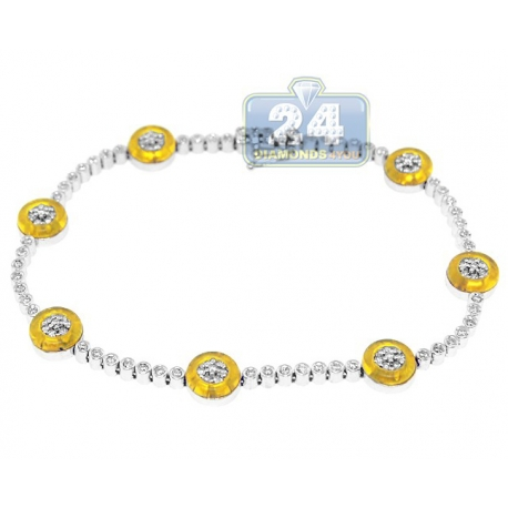 Womens Diamond Yellow Evil Eye Bracelet 14K White Gold 1.00 ct