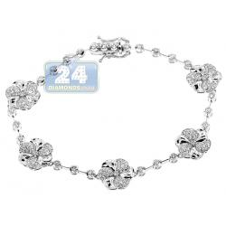 """Womens Diamond  Flower Tennis Bracelet 14K White Gold 2.01 ct 7"""""""