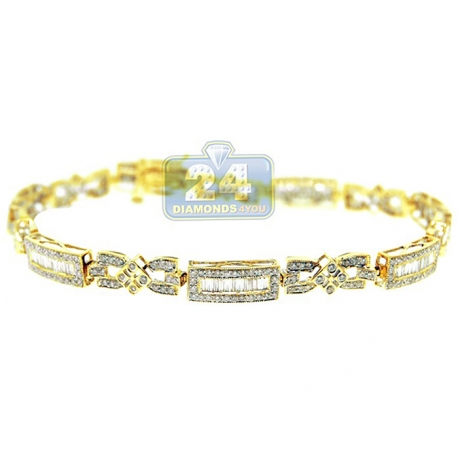 Womens Diamond Slim Link Bracelet 14K Yellow Gold 2.43 ct 7.5""