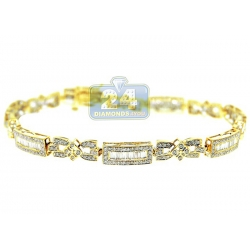 14K Yellow Gold 2.43 ct Diamond Slim Link Womens Bracelet