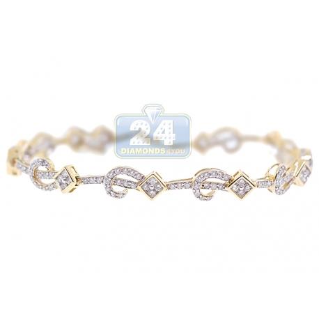 "Womens Diamond Pattern Link Bracelet 14K Yellow Gold 1.80 ct 7"""