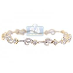 14K Yellow Gold 1.80 ct Diamond Pattern Link Womens Bracelet