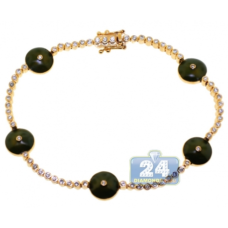 Womens Diamond Green Evil Eye Bracelet 14K Yellow Gold 0.85 ct