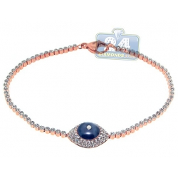 14K Rose Gold 1.01 ct Diamond Evil Eye Station Womens Bracelet