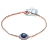 Womens Diamond Blue Evil Eye Bracelet 14K Rose Gold 1.01 ct 7.5""